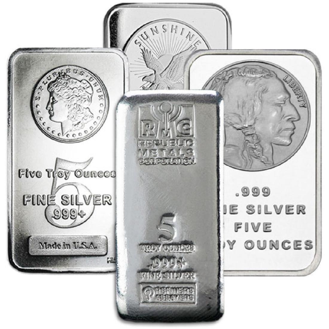 (1) Random Maker 5 oz. Silver Bar .999 Pure