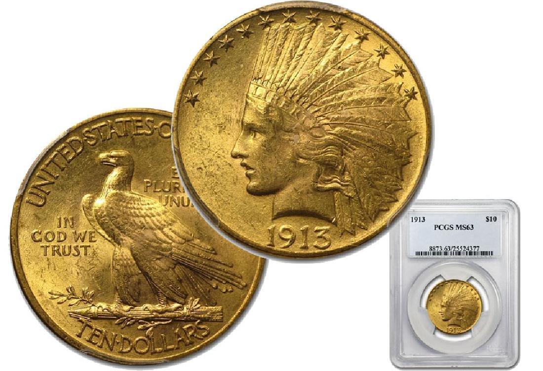 1913 Key Date In Grade MS 63 PCGS $10 Indian
