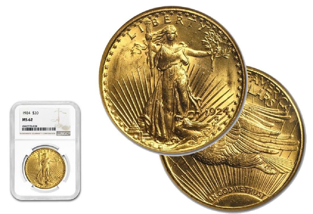 1924 MS 62 NGC $20 Gold Saint Gaudens