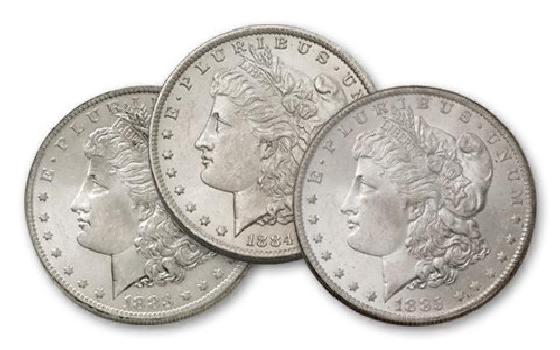 1883-84-85 O BU Morgan Silver Dollars
