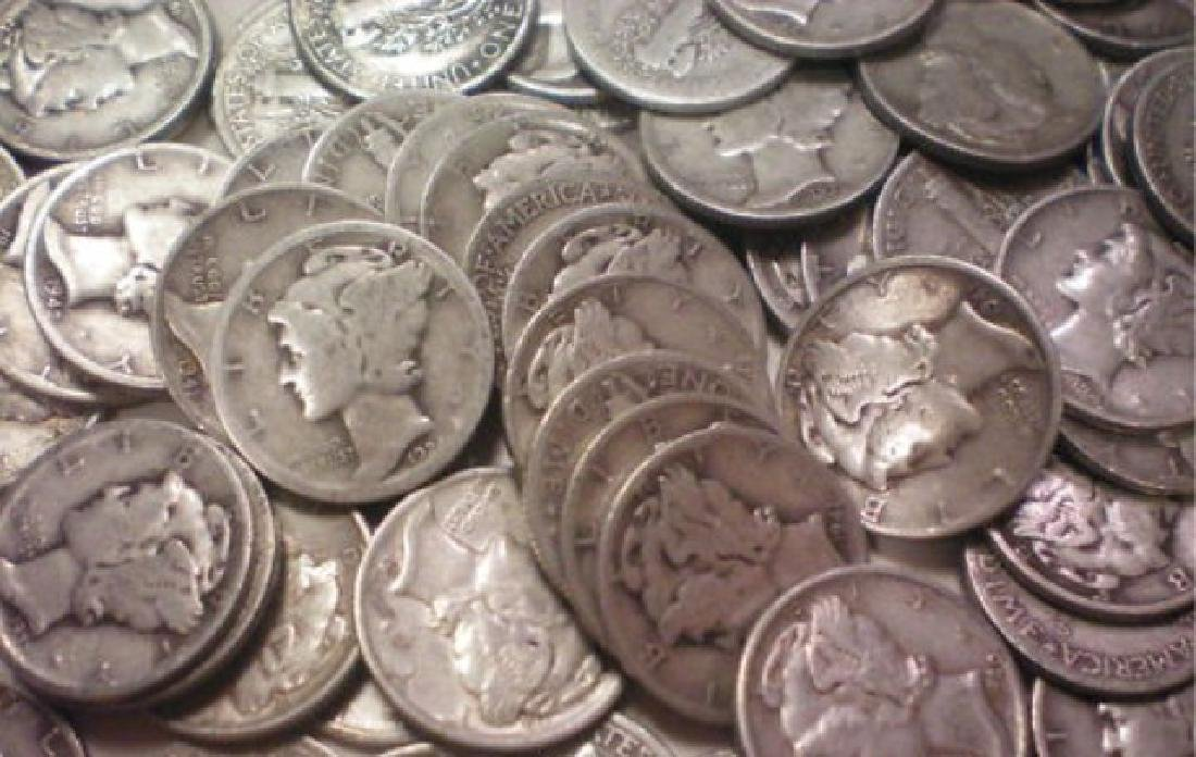 Lot of (100) $ 10 Face Value Mercury Dimes