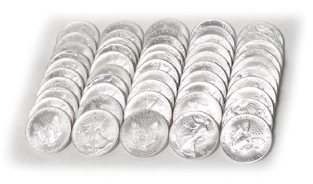 (50) BU Random  Date Us Silver Eagles