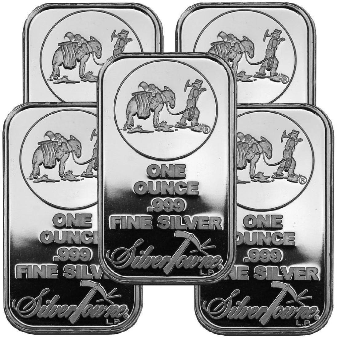 (5) 1 oz. Silvertowne Prospector Silver bars- .999