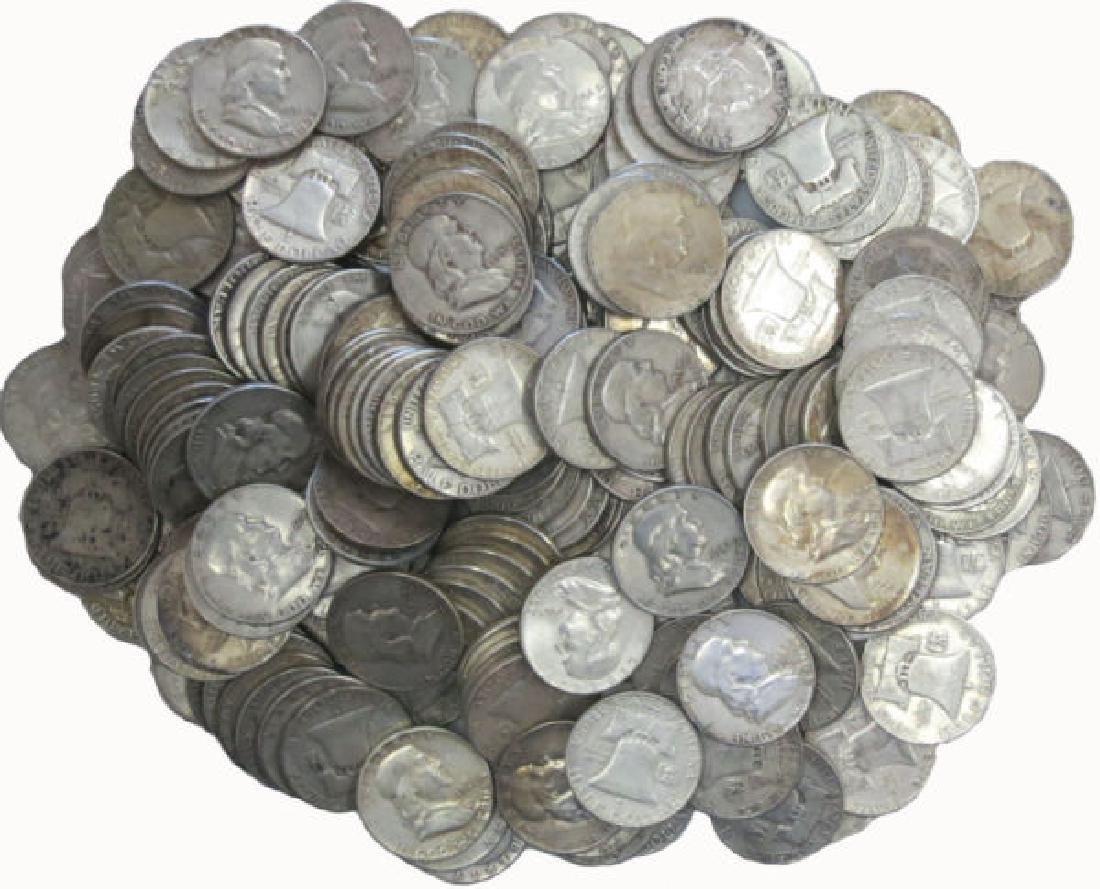 (100) Franklin Half Dollars 90% Silver
