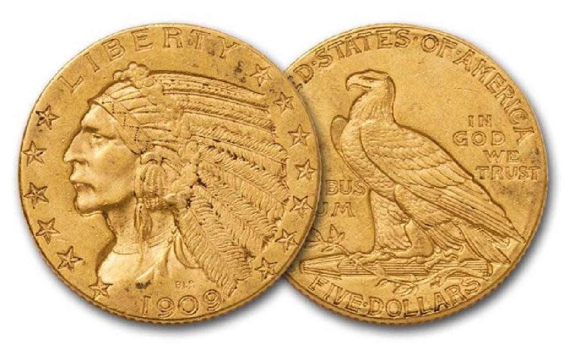1909 D $5 Gold Indian XF/ AU Grade