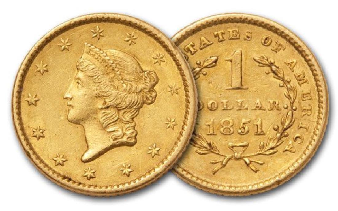 1851 $1 Gold Liberty US Type Gold