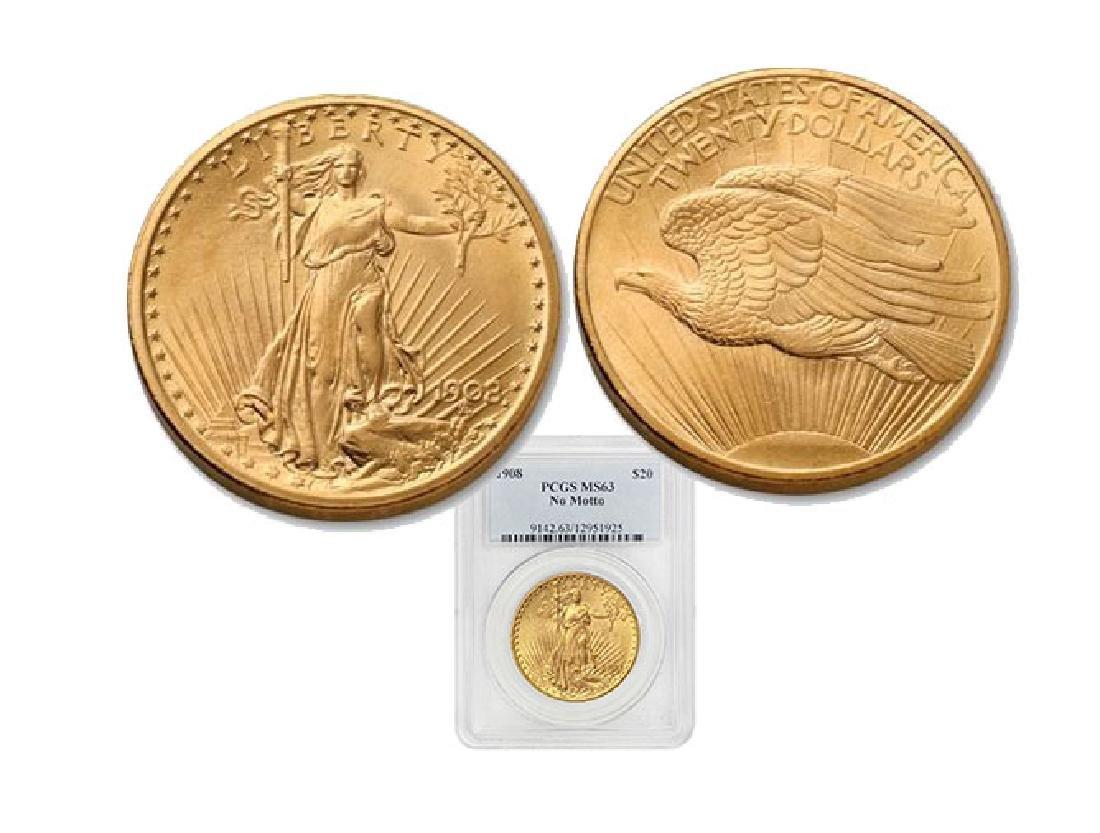 1908 NM MS 63 PCGS $20 Gold Saint Gaudens