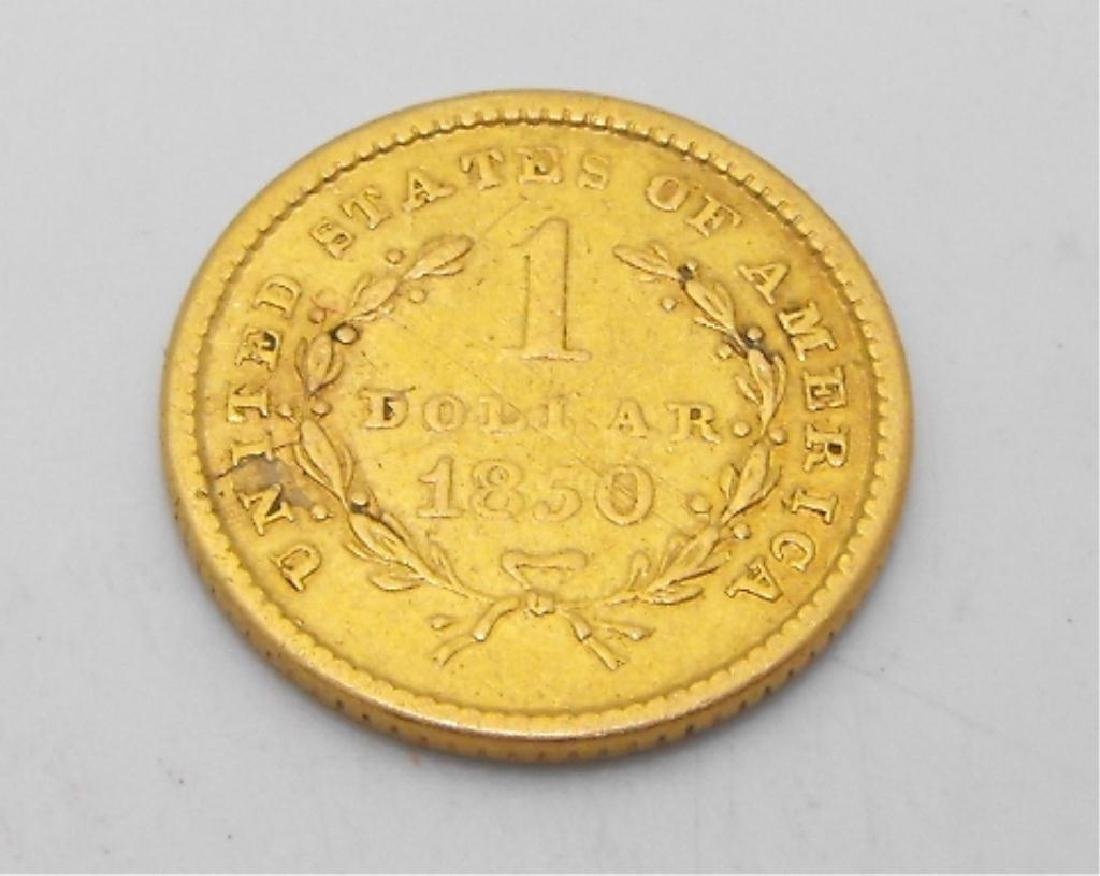 1850 P US $ 1 Gold Liberty Coin