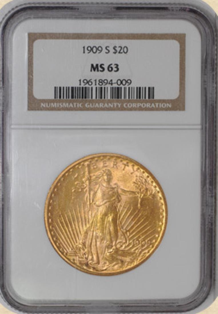 1909 S $ 20 St. Gaudens MS 63 NGC Gold Coin
