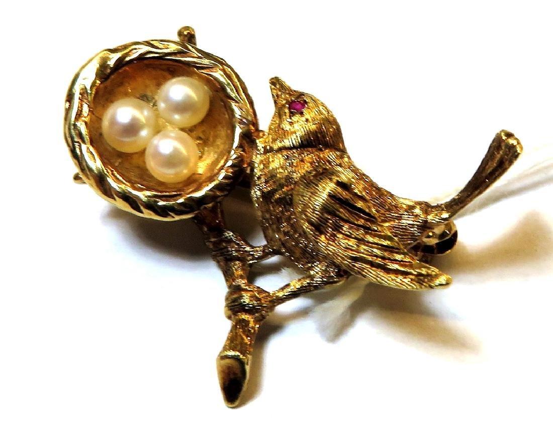 14k YG Figural Bird Pin w/ Pearls and Ruby Eye