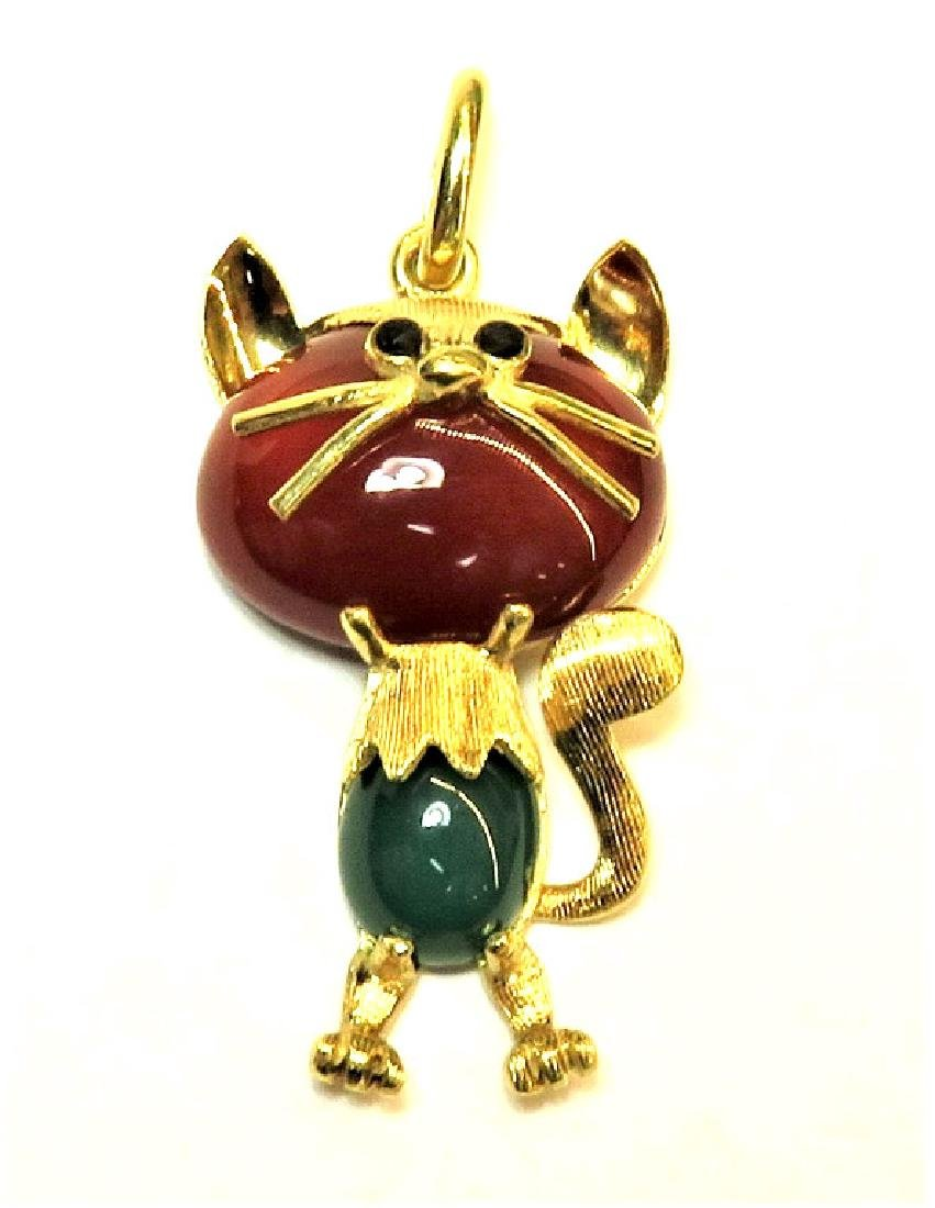 14k YG Italian Stylized Cat Pin w/ Carnelian