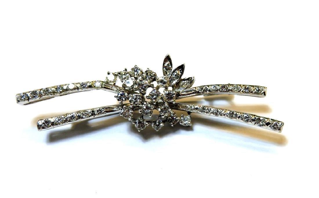 Stunning 18k WG 1 tcw. Diamond Pin Brooch