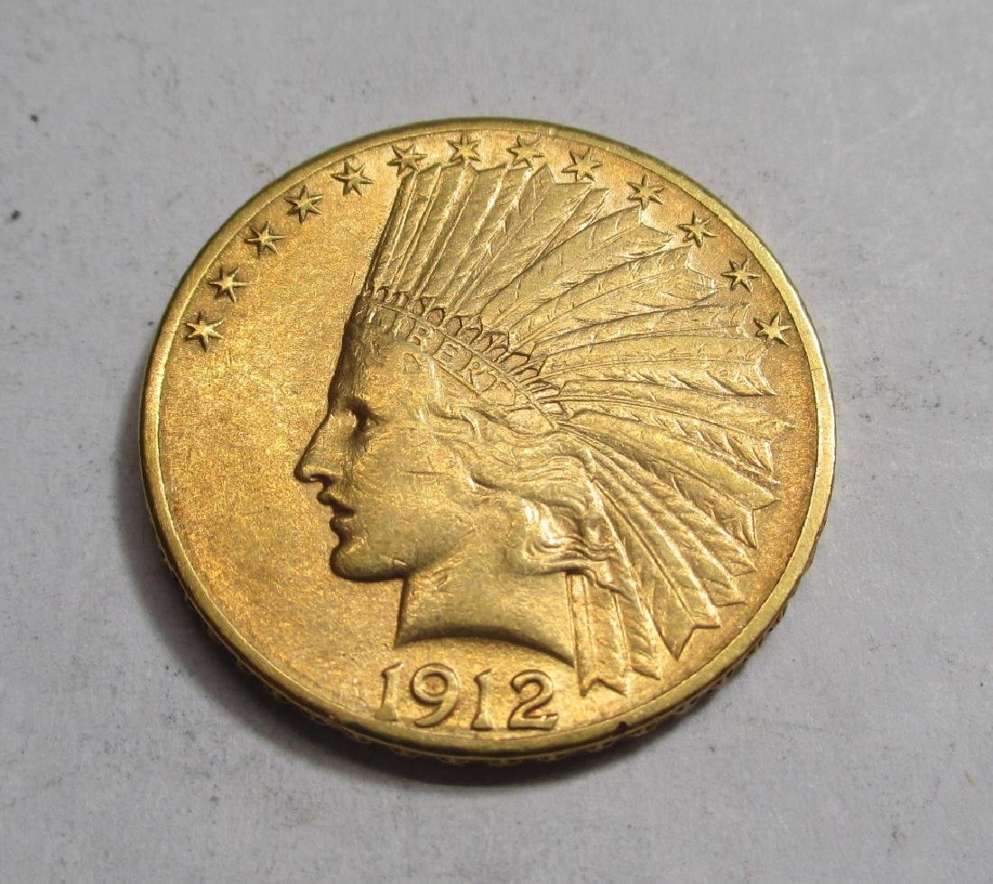1912 $10 Gold Indian Eagle Coin