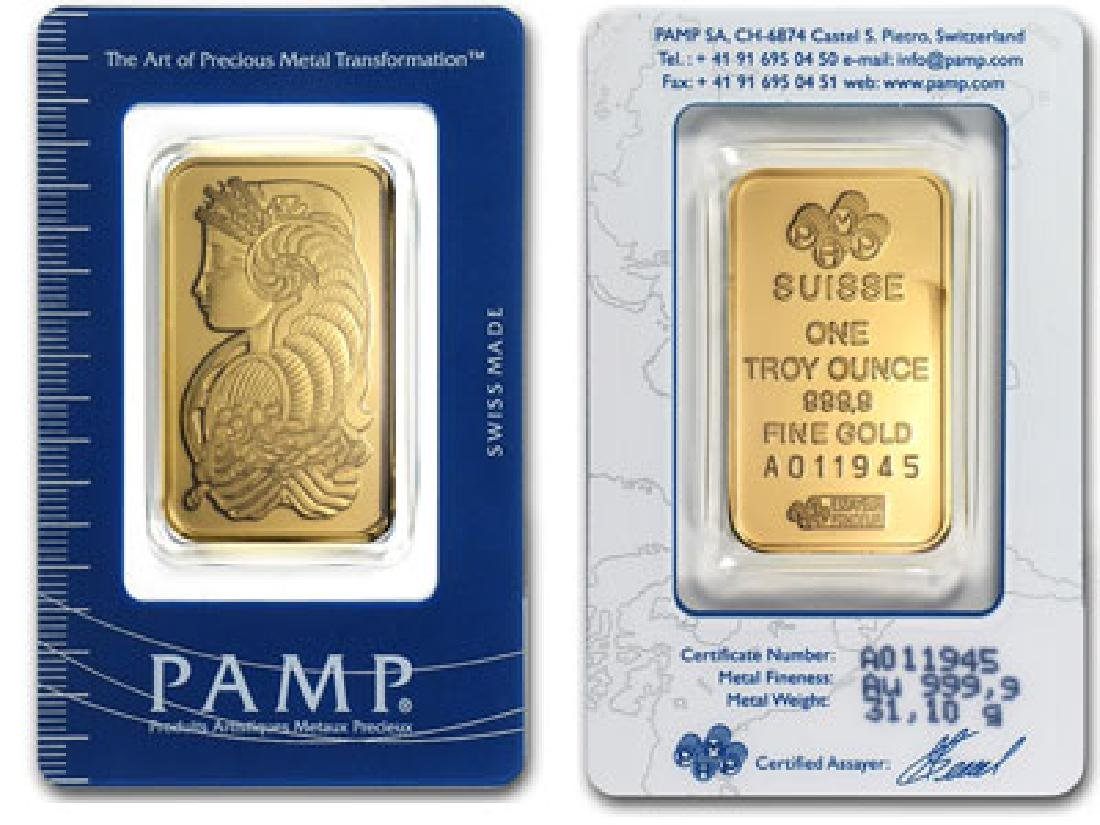 1 oz Pamp Suisse Gold Bar -.999 Pure