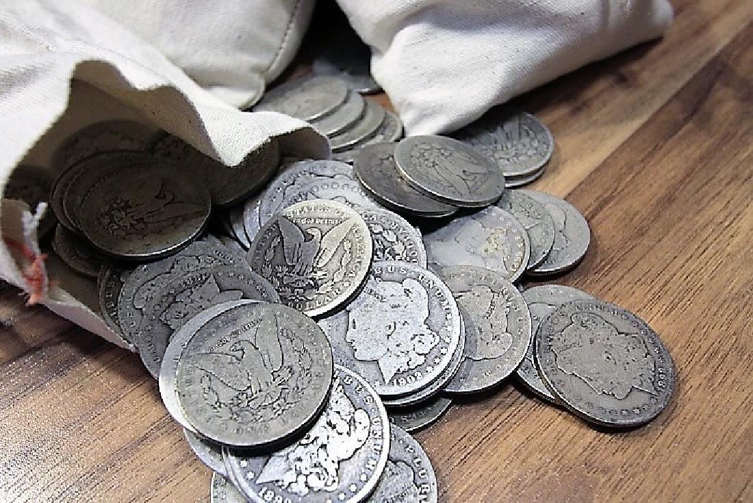 Bank Bag Contents -100 Morgan Dollars - Mixed