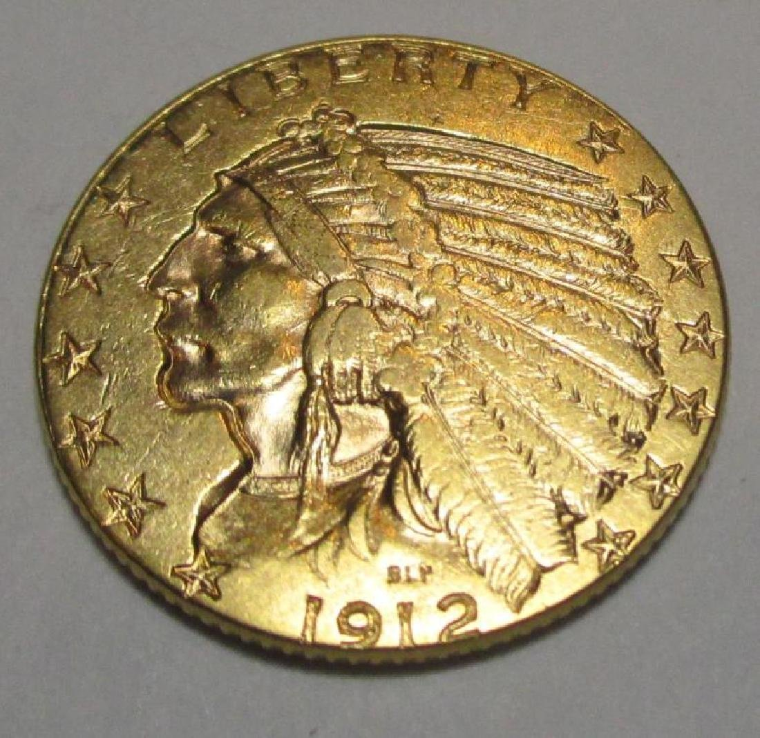 1912 $5 Gold Indian Half Eagle Coin