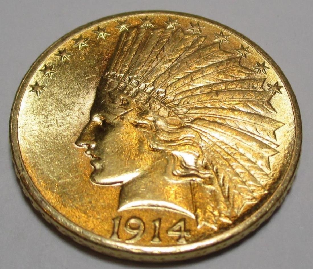 1914 D High Grade $10 Gold Indian