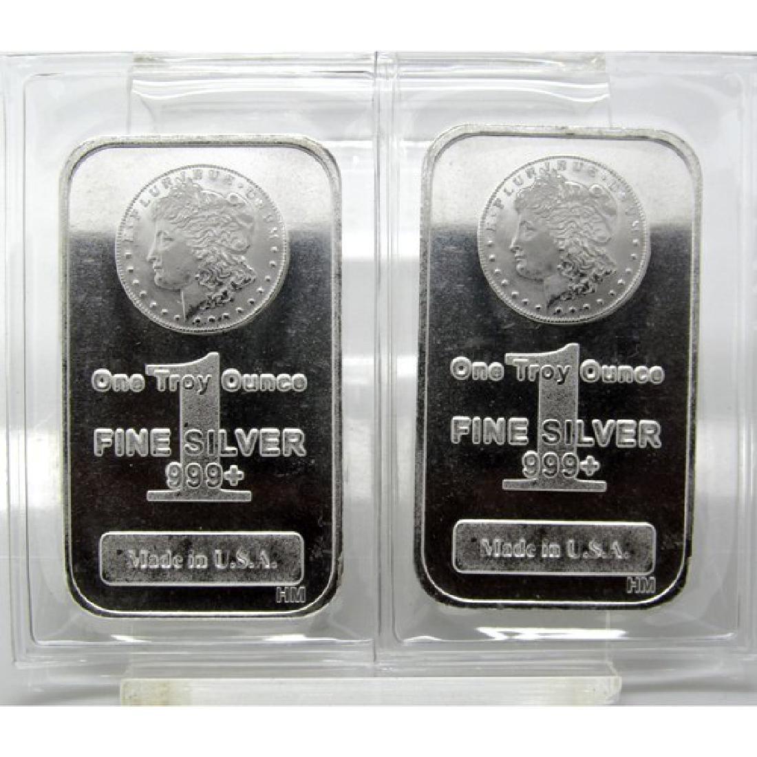 (2) 1 oz Morgan Design Silver Bars-.999 Pure