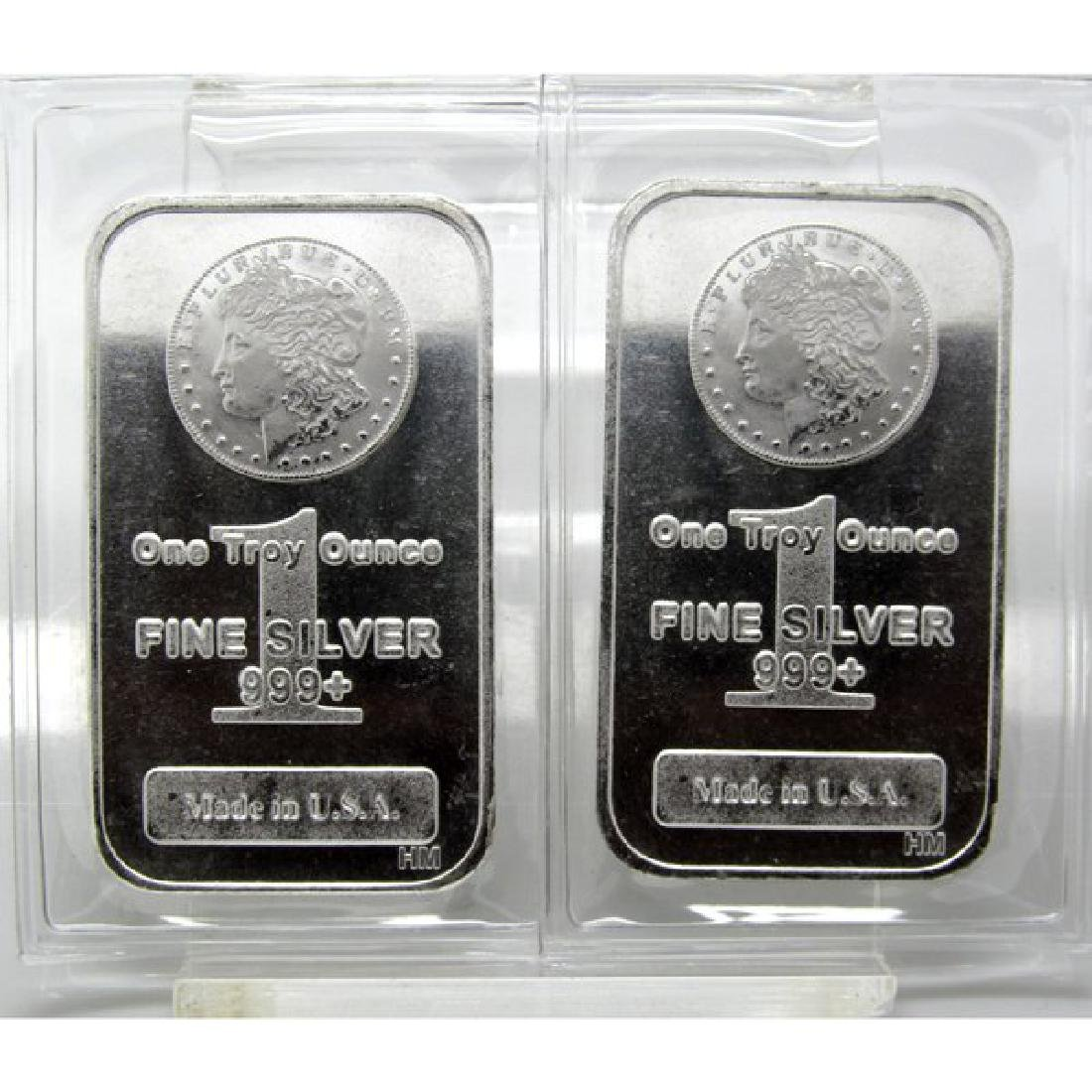 (2) 1 oz Morgan Design Silver Bars