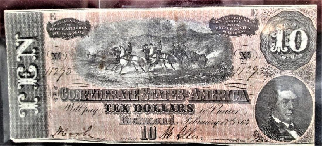 $10 Confederate Currency AU Grade
