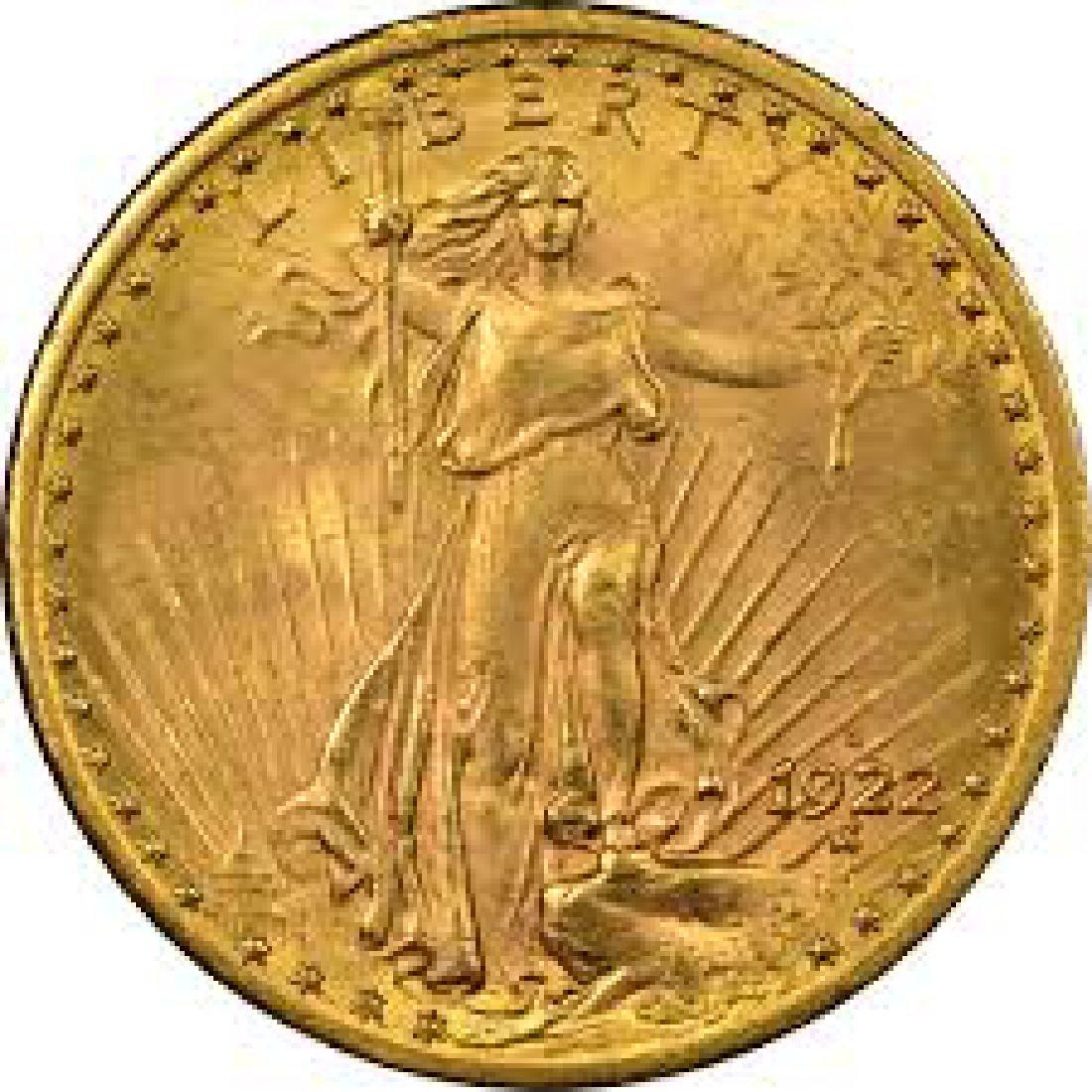 1922 High Grade $20 Gold Saint Gaudens - 2