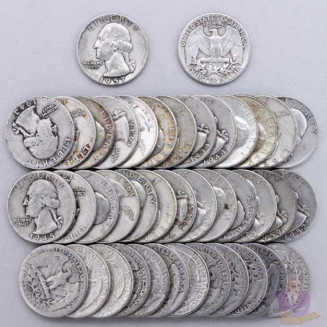 $10 Face Value 90% Silver Washington Quarters