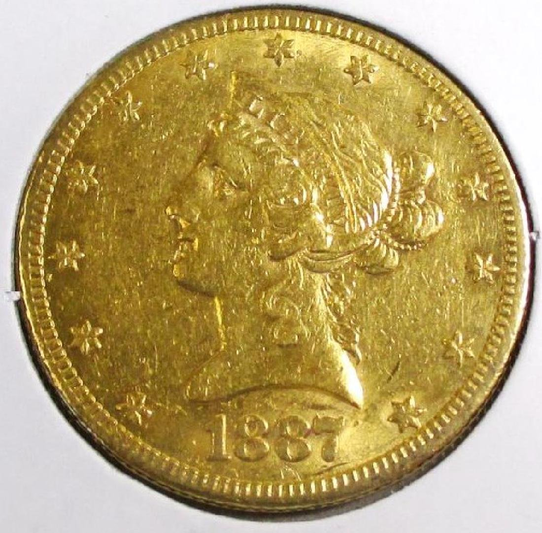 1887 S Better Date $ 10 Gold Liberty Eagle