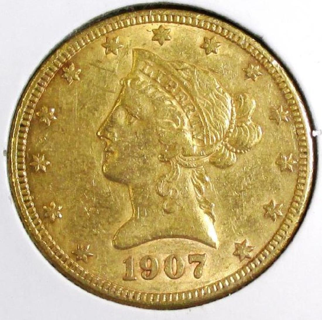 1907 S $ 10 Gold Liberty Eagle Better Date