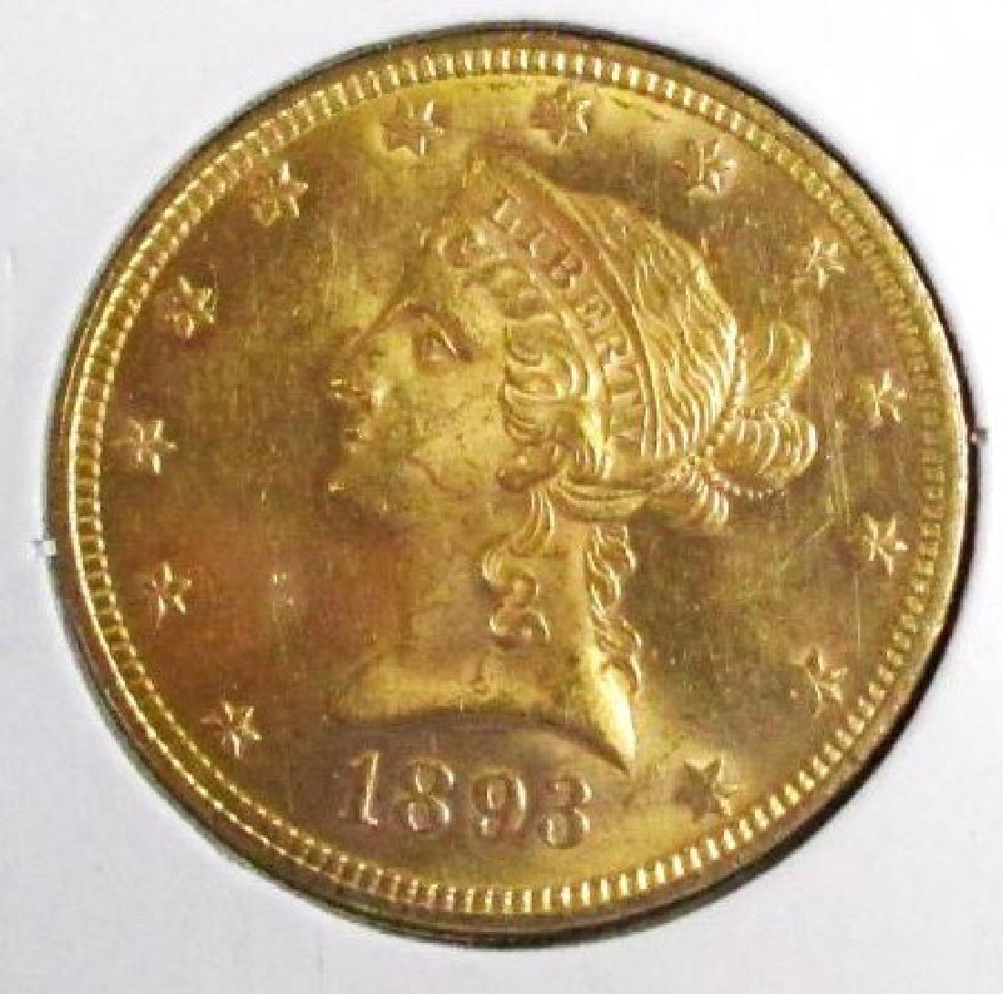 1893 AU Grade $ 10 Gold Liberty Eagle