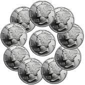 (10) 1 oz. Mercury Head Design Silver Rounds