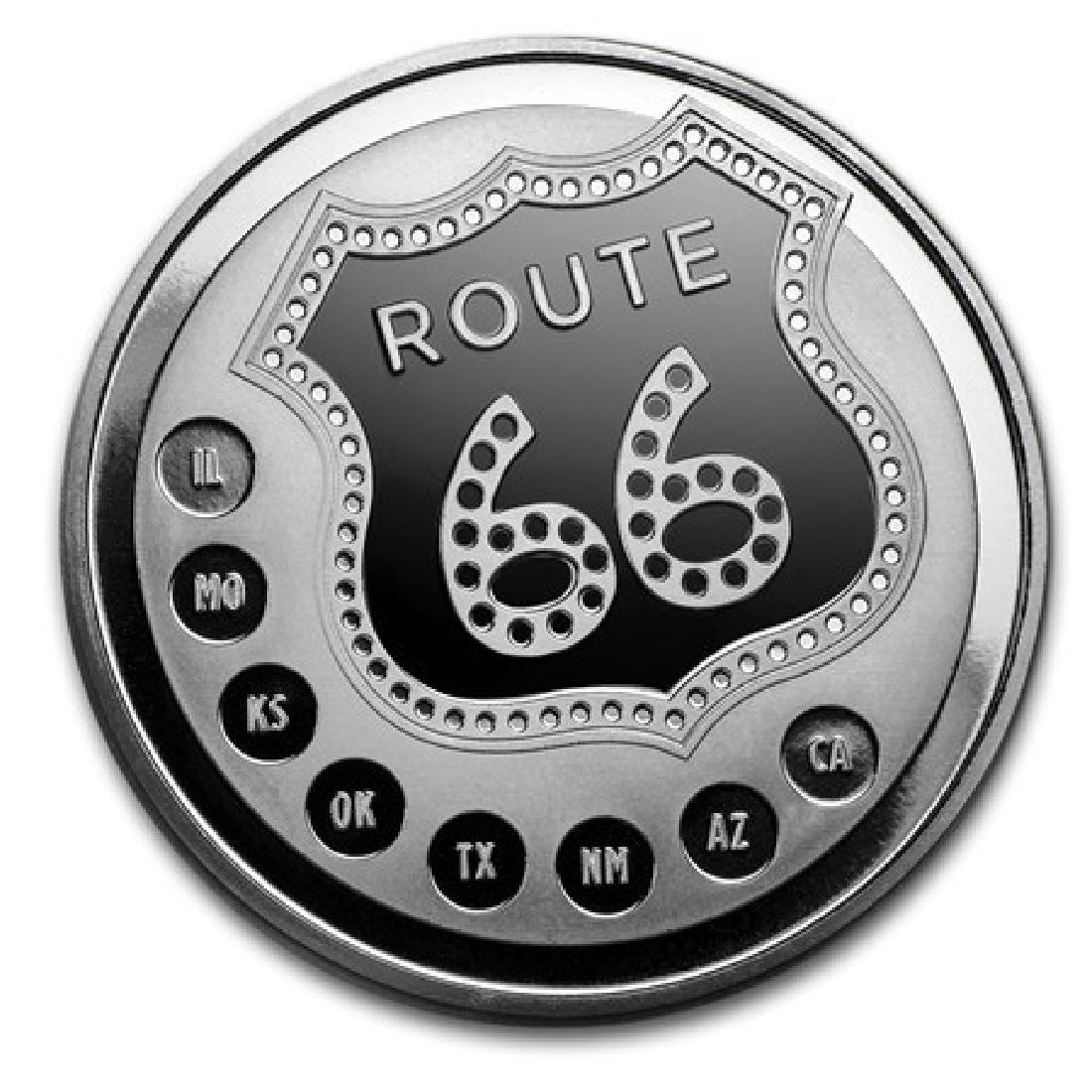 1 oz Silver Round ROUTE 66 - .999 Pure
