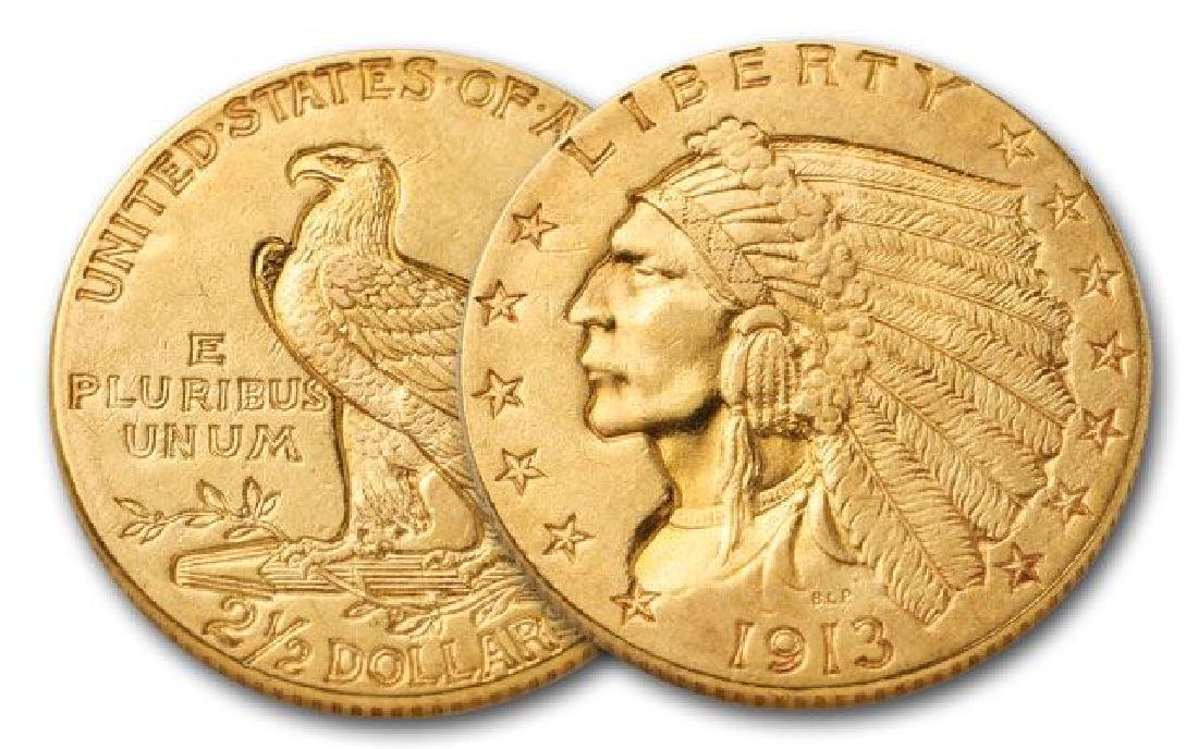 1913 $2.5 Gold Indian Coin