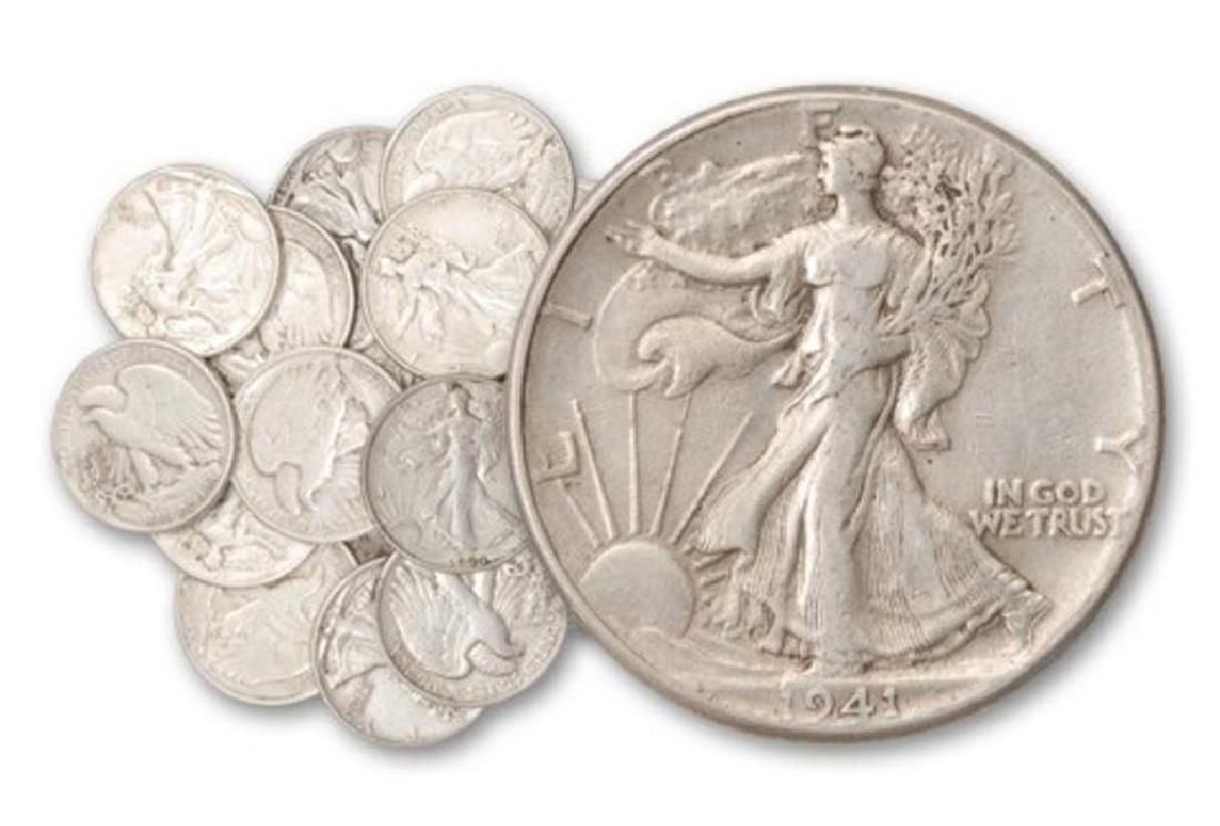 Colection of 20 Walking Liberty Half Dollars -90%