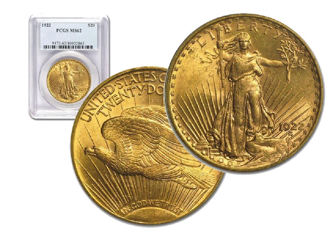 1922 MS 62 PCGS $20 Gold Saint Gaudens
