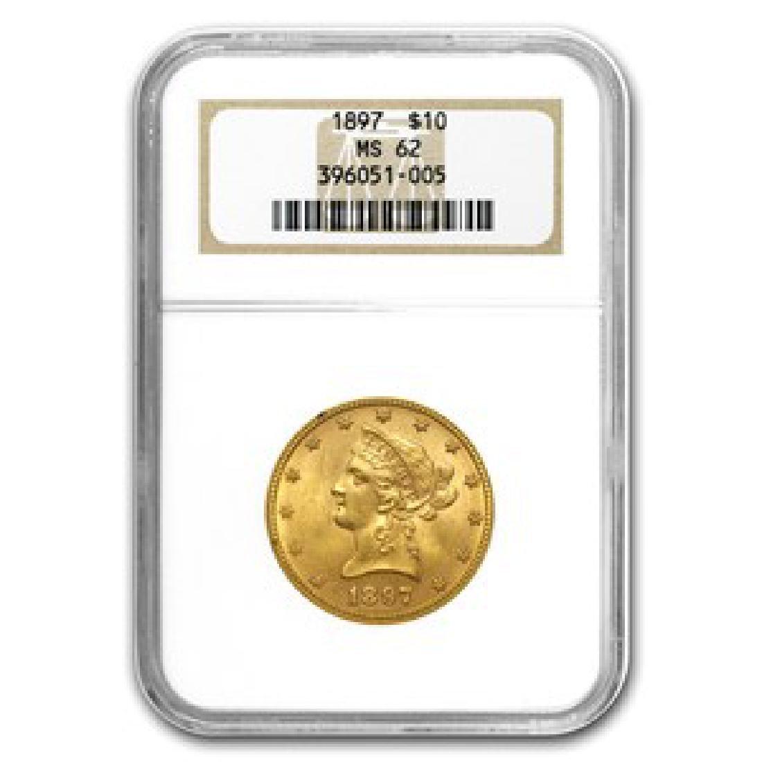 1897 MS 62 NGC $10 Gold Liberty Coin