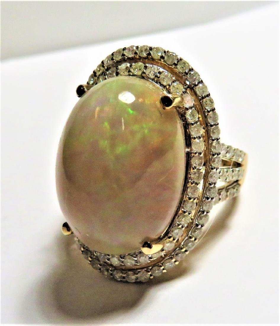 10.42 ct. Natural Opal and Diamond Ring 14k