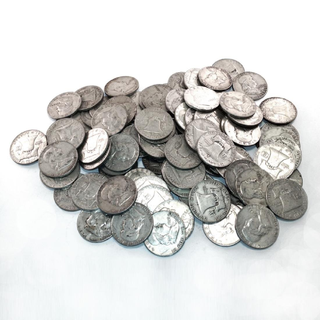 Collection of 50 pcs. Franklin Halves 90% Silver