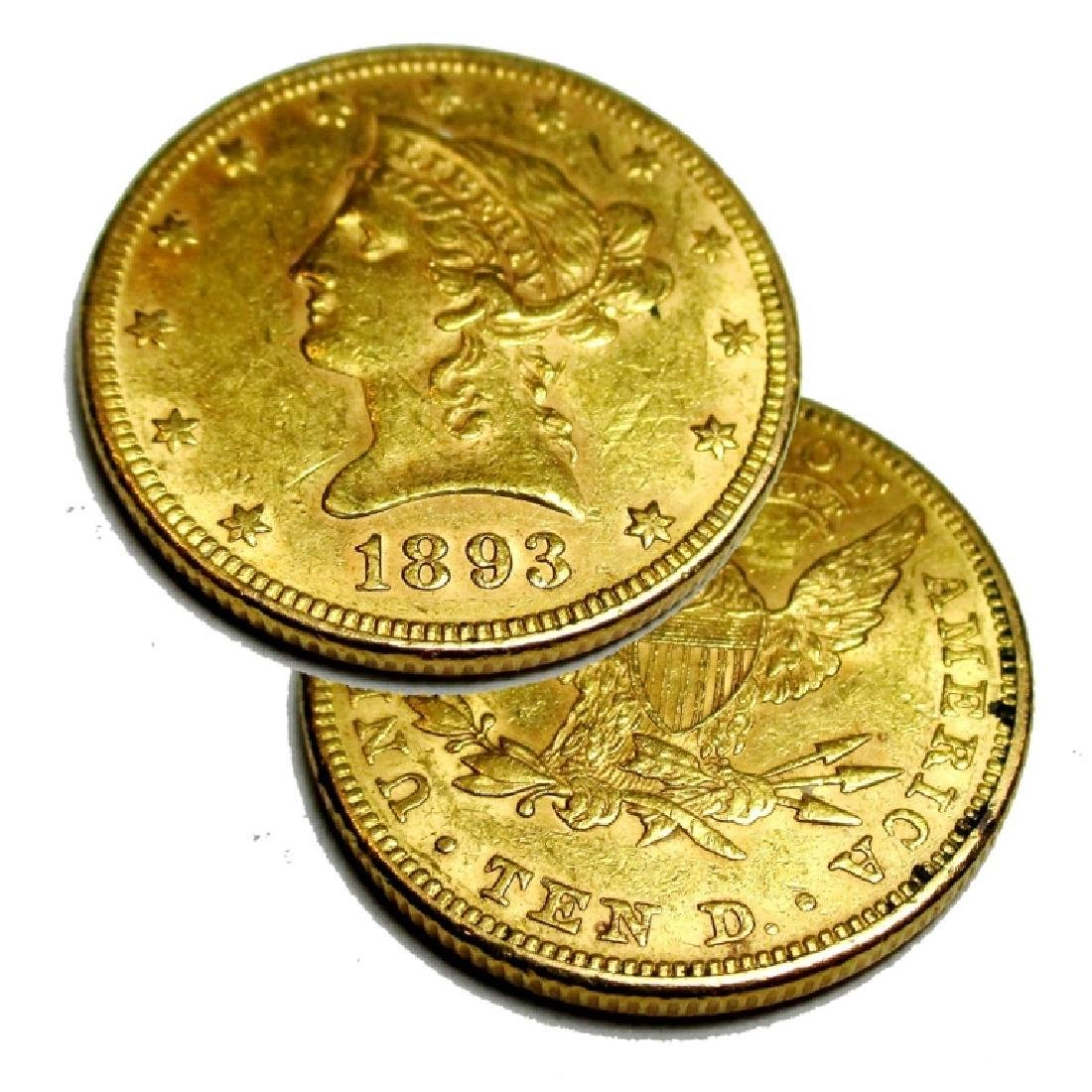 1893 AU Grade $10 Gold Liberty Head Coin