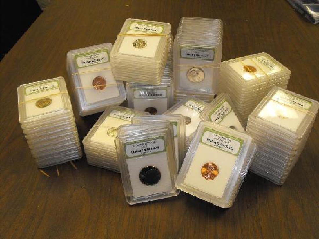 100 Slabbed MS 60-BU & Proof INB Graded Coins
