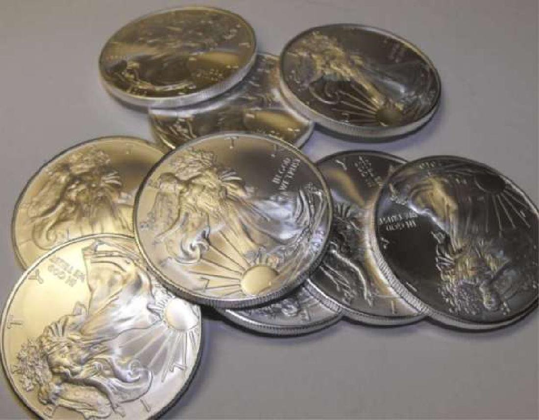 Lot of (10) Random Date Silver Eagles