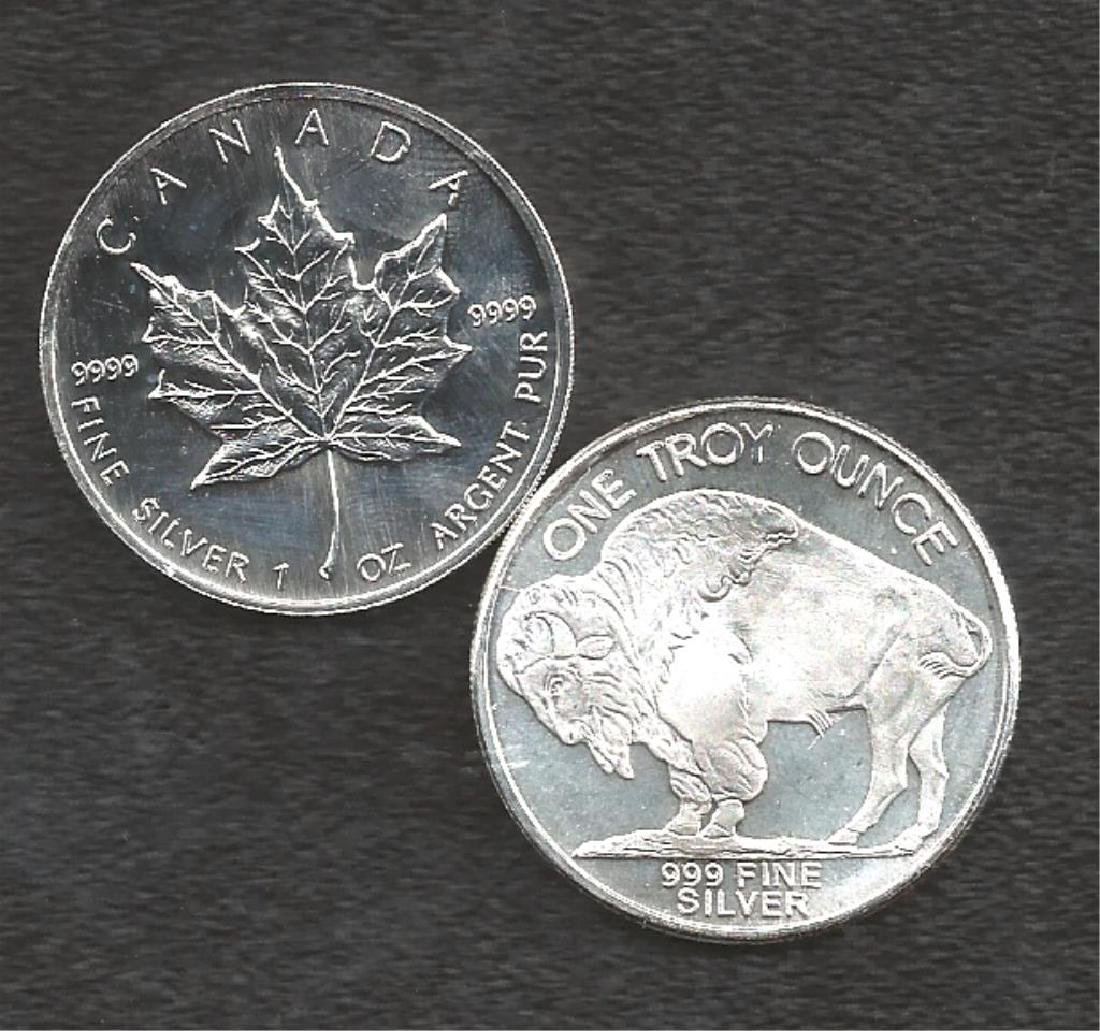 Maple Leaf & Buf. Rd. 2 oz Pure Silver