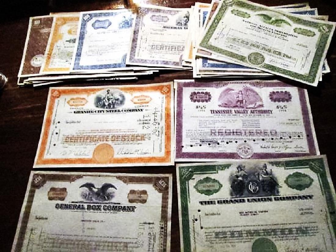 (50) Obsolete Stock Certificates Cool Artwork