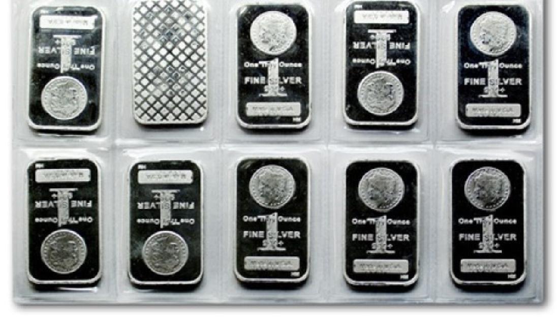 (10) 1 oz Silver Morgan Design Silver Bars