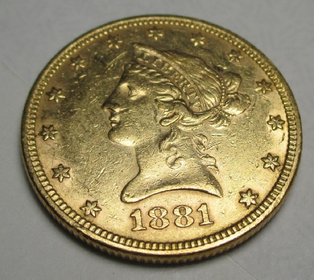 1881 $10 Gold Liberty Eagle