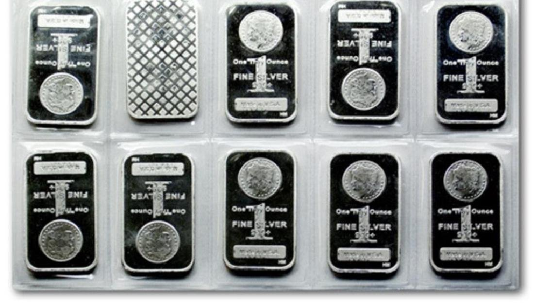 (10) 1 oz Silver Morgan Design Bars -.999 Pure