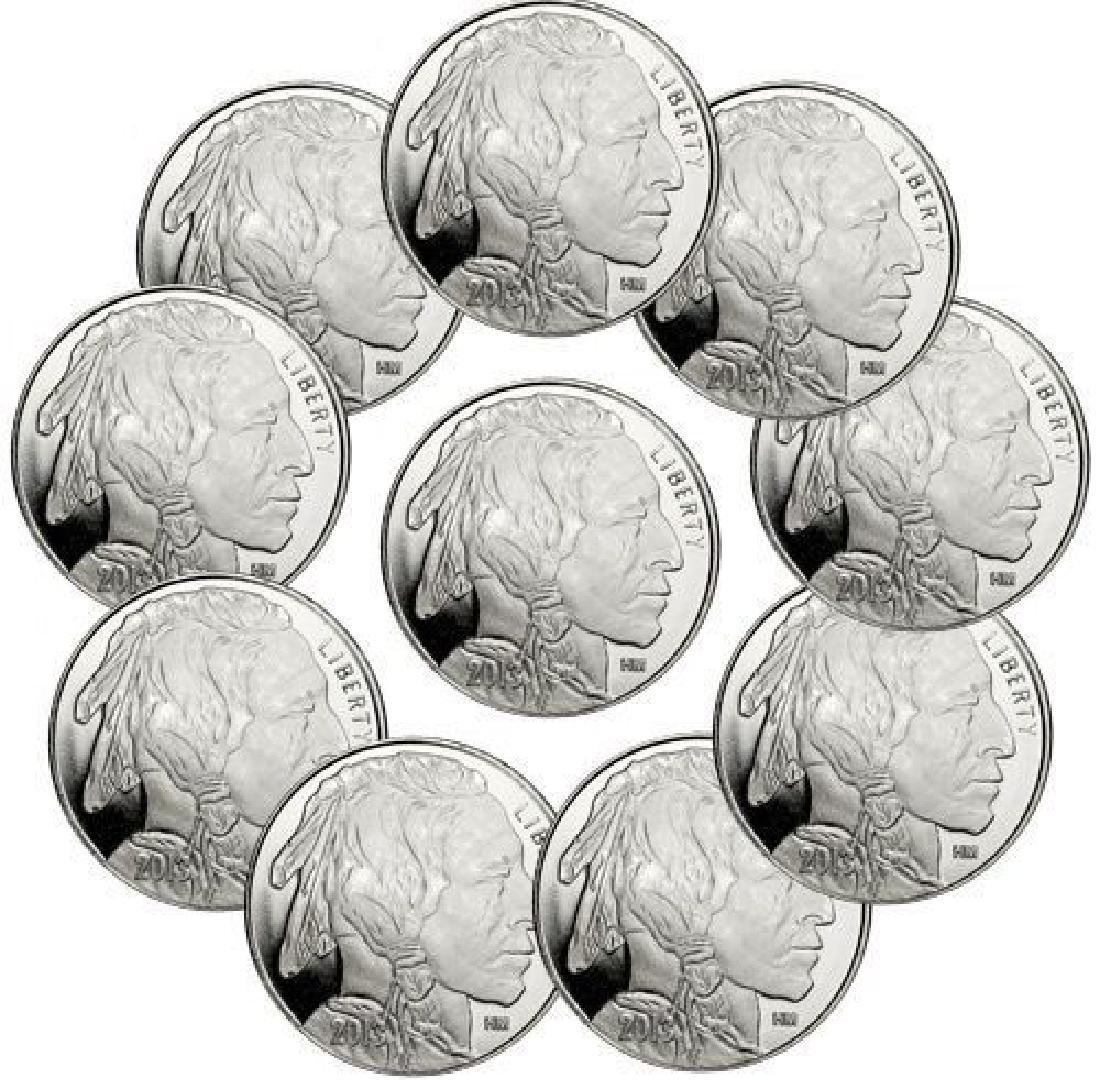 (10) 1 oz Silver Buffalo Design Rounds-.999 Pure