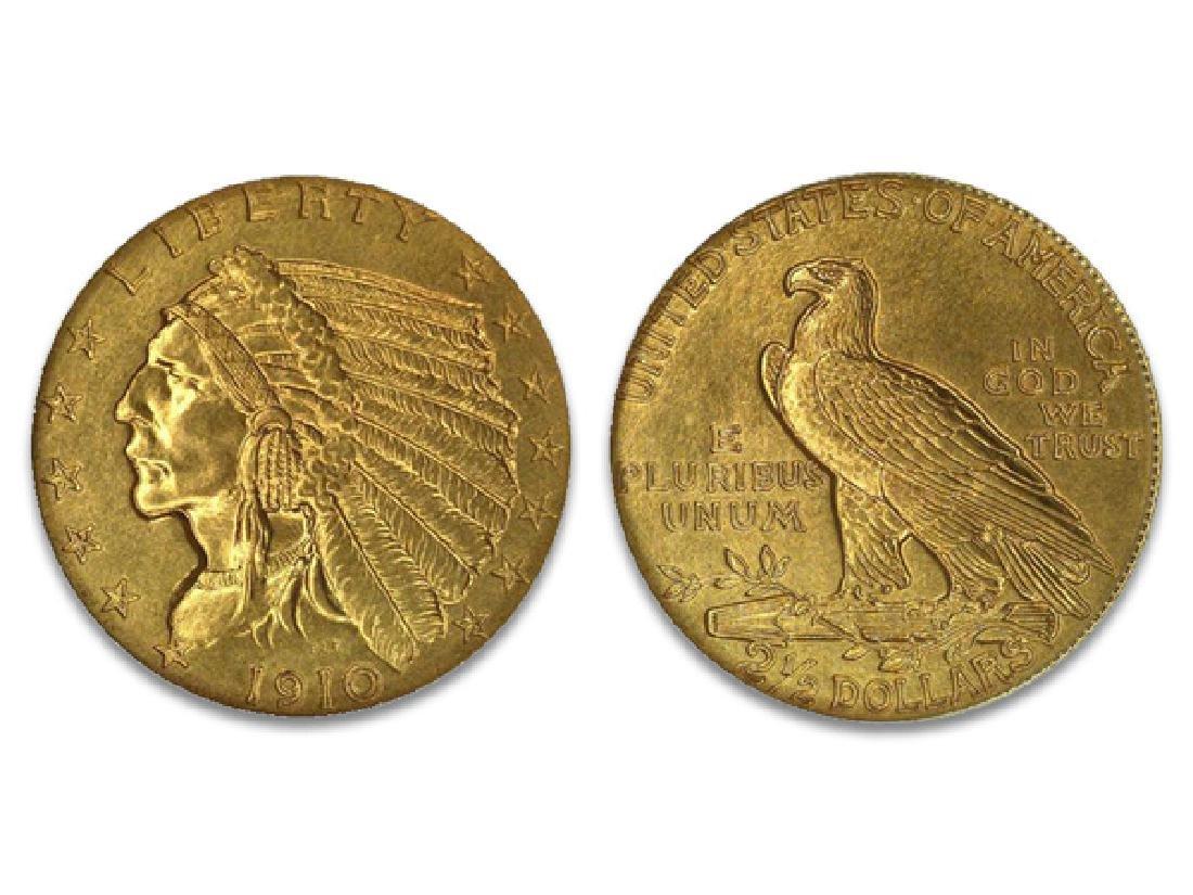 1910 $2.5 Gold Indian XF/AU Grade