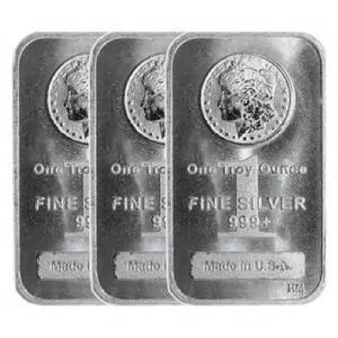 (3) 1 Oz. Silver Morgan Design Bars .999