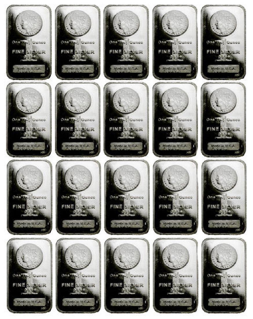 (20) 1 oz. Silver Morgan Design Silver bars