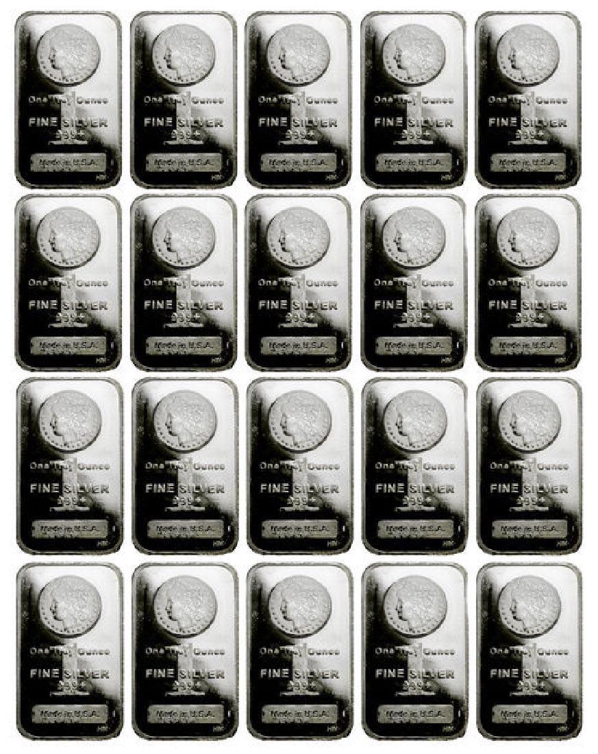 (20) 1 oz. Silver Morgan Design Silver bars